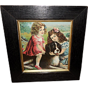 Vintage Smaller Version of Rover and His Friends - Girls with Newfoundland