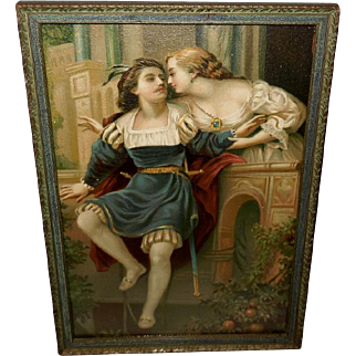 Embossed Chromolithograph of Man and Woman