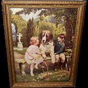 Arthur Elsley Vintage Print of Children with Saint Bernard Dog