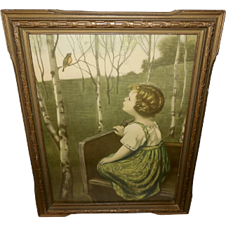 Simon Glucklich 1925 Print of Spring Song in Carved Frame