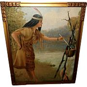Chromolithograph of Native American Indian Maiden Cooking over Fire