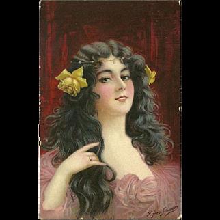 Raphael Tuck Postcard Ideal Heads Series - Lovely Brunette