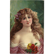 Holzman Artopaint Head Series 1908 Postcard of Lovely Blonde