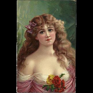 Holzman Artopaint Head Series 1908 Postcard of Lovely Blonde