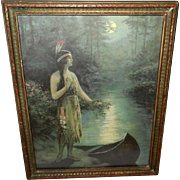 F. R. Harper Vintage Calendar Print of Native American Indian Maiden Nokomis