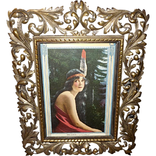 Native American Indian Maiden in Ornate Metal Table Top Frame