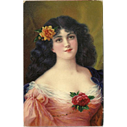 Birn Brothers 1913 Postcard of Lovely Brunette