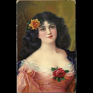 Birn Brothers 1913 Postcard of Lovely Brunette