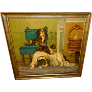 Chromolithograph 1883 of Two Dogs and Cat