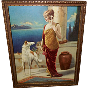 Beatrice Tonnesen Classical Woman with Borzoi Dog