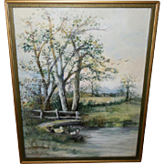 Folk Art Watercolor Scene of Ducks in Pond Dated 1920s