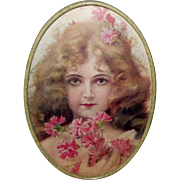 Petite Vintage Print of Blonde Girl in Oval Frame