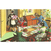 Mainzer Dressed Cats Postcard - Tea Party Accident