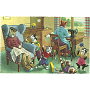 Mainzer Dressed Cats Postcard - Mischievous Kittens