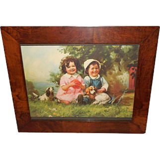 Hintermeister Large Framed Calendar Print of Children with Puppy Dogs