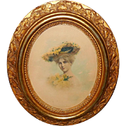 Hand Colored Photo Print of Lady in Large Hat