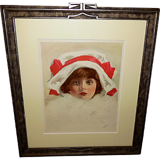 Henry Hutt Print of Young Girl in Carved Frame