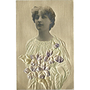 Embossed Vintage Photo Postcard of Woman