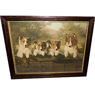 Adelaide Hiebel Calendar Print of Four Collie Puppy Dogs