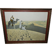 Lehnert & Landrock Arabian Desert Scene with Men and Camel