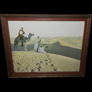 Lehnert & Landrock Arabian Desert Scene with Men and Camel