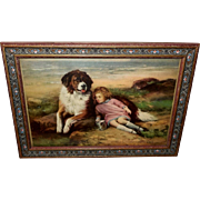 Petite Vintage Print of Girl and Saint Bernard by N.B. Roney