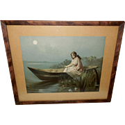Lady in Canoe in Moonlight Vintage Print
