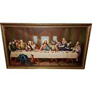 The Last Supper Vintage Print in Gold Wood Frame