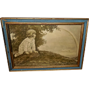 Vintage Print of Child Watching a Rainbow