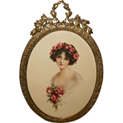 J. Knowles Hare Brunette with Roses in Ornate Metal Frame