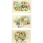 Three Easter Cards with Young Boy and Girl