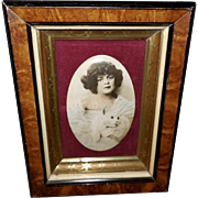 Celluloid Tinted Photo Print of a Young Girl with Cat in Layered Frame