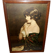Gabriel Nicolet Vintage Print of Puzzled - Beautiful Pensive Lady