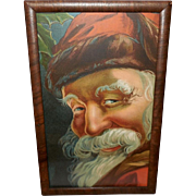 Chromolithograph of Santa Claus in Wood Frame