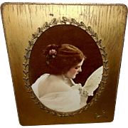 Lovely Ullman Lady with Dove in Ornate Frame