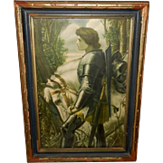 George Watts Vintage Print of Sir Galahad with White Horse