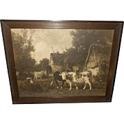 Vintage Sepia Print of Cows Near Thatched Cottages