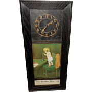 Wood Frame Embellished with Imitation Clock and 1905 Ullman Print Hello Papa