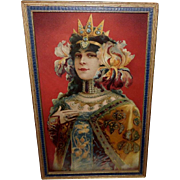 Chromolithograph of Art Nouveau Style Princess in Blue and Gold Frame