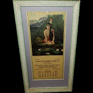 Native American Indian Princess Series January 1923 Advertising Calendar