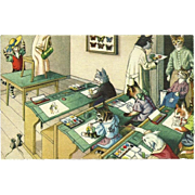 Max Kunzli Dressed Cats Postcard of Art Class