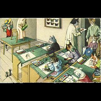 Max Kunzli Dressed Cats Postcard of Art Class