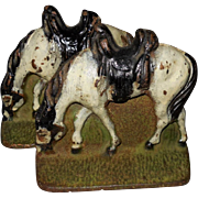 Cast Iron Cold Painted Riderless Horse Bookends
