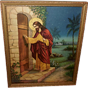 Vintage Print of Jesus Christ Knocking at the Door