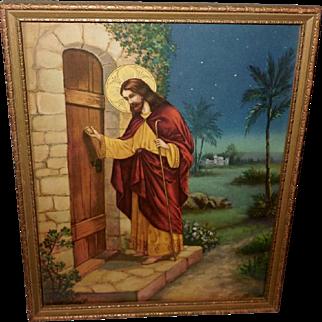 Vintage Print of Jesus Christ Knocking at the Door