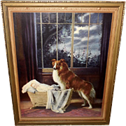 R. Atkinson Fox Calendar Print of Collie Dog Guarding Baby