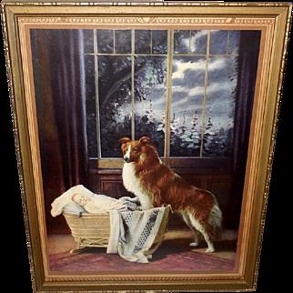 R. Atkinson Fox Calendar Print of Collie Dog Guarding Baby