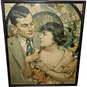 Neysa McMein Romantic Vintage Print of Couple Under Parasol