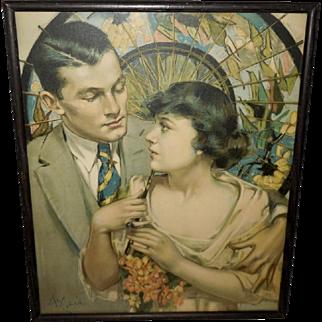 Neysa McMein Romantic Vintage Print of Couple Under Parasol