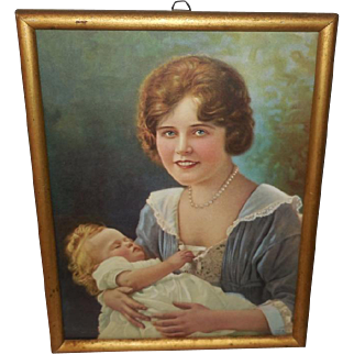 Beatrice Tonnesen 1927 Print of Mother and Baby